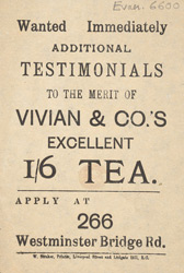 Advert for Vivian & Co's tea